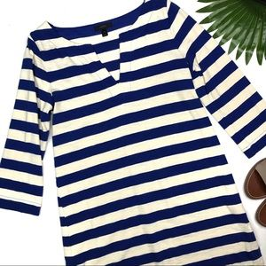 J. CREW | sz S Blue and ivory stripe tunic dress